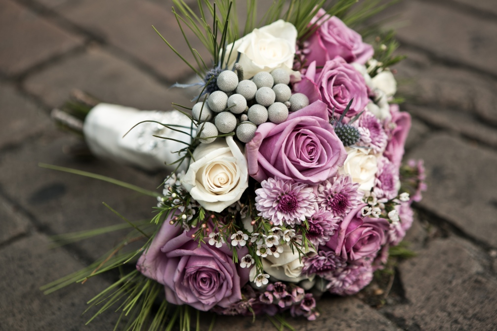 Purple and Gray Bridal Bouquet - FatCatz Photography