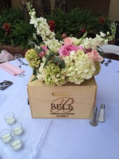 Vineyard Theme with wine crates and flowers