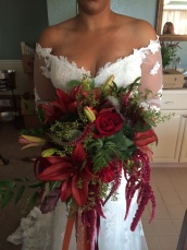 Marsala and green cascading bridal bouquet