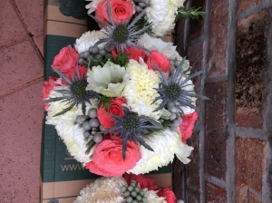 Bridal bouquet - Coral roses, thistle, white anemones, football mum