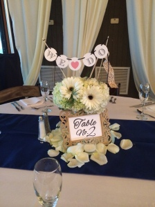 White Centerpiece of white hydrangea, white gerbers and greenery. Signs provided by Dogwood Blossom Stationary