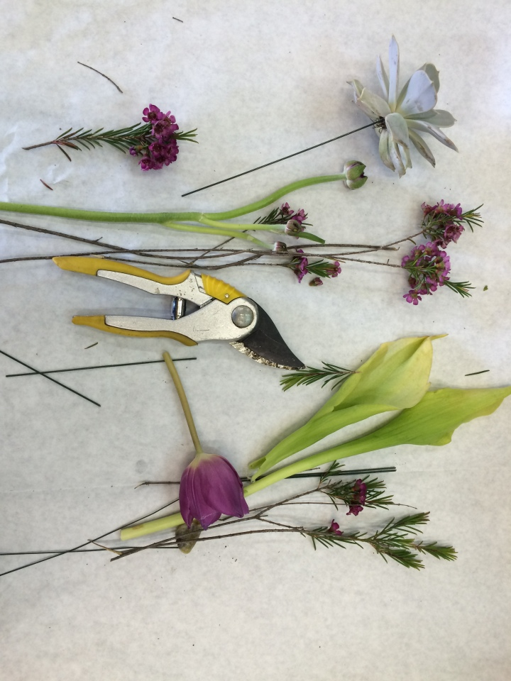 Cutters, wires, blooms and foliage
