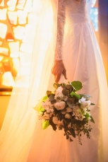 Bridal bouquet of green and white flowers