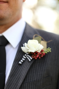 ribbon wrapped boutonniere