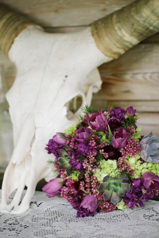 Isola Farms Wedding; Queen Anns Lace, Green Trick, Purple Tulips, Purple Wax Reception