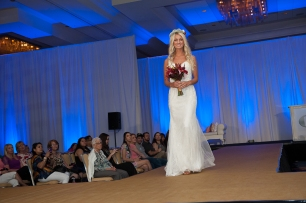 Bridal bouquet and halo for the runway at the PWG wedding expo