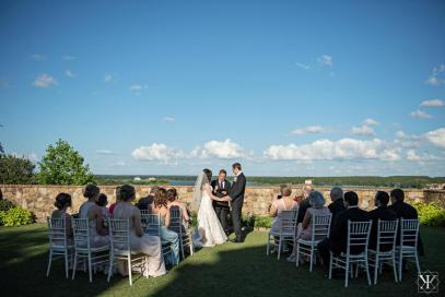 Perfect sun setting for an intimate wedding in the lawn at Bella Collina.