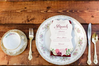 Elegant china and the menu card for when the guests arrive.