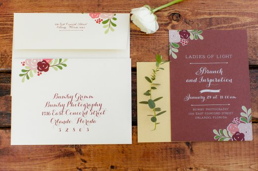 Elegant stationary with a few blooms and greenery.