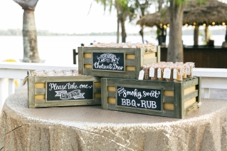 Shimmer and Shine linen with rustic wood boxes holding unique favors