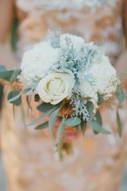 Dusty miller, rose, football mums and eucalyptus