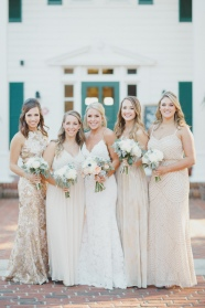 Stunning wedding party with white and green classic bouquets