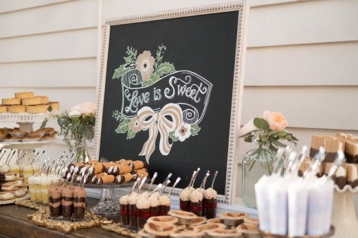 Two Sweets dessert buffet with elegant chalk art