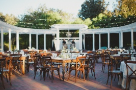 Reception with all the details; french country chairs, farm tables, garlands and more