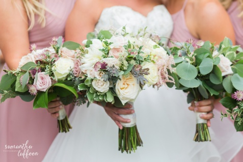 dusty rose airy bouquet, amnesia rose, peony, blush flowers, variegated pittosporum, blush floral, astilbe, acacia