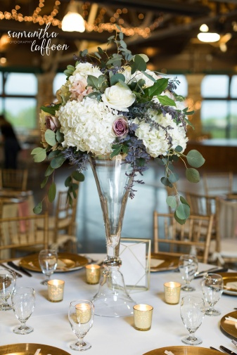 stunning tall dusty rose and ivory centerpieces, white hydrangea blush rose and airy wedding centerpiece