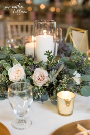 gorgeous candle and floral ring centerpieces in mauve and ivory floral