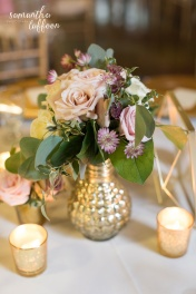 gold mercury glass containers with mauve and ivory floral
