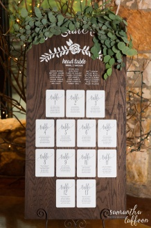 escort card sign for reception with greenery floral design