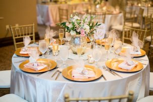 rustic romantic blush and gold flower centerpieces for reception wedding